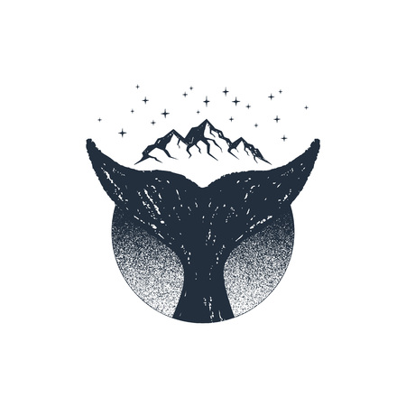 Hand drawn travel badge with whale's tail textured vector illustration.  イラスト・ベクター素材