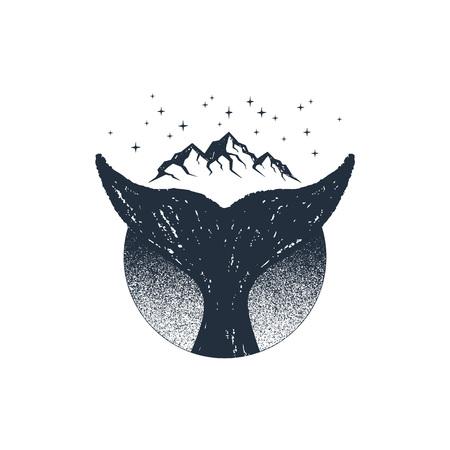 Dibujado a mano insignia de viaje con cola de ballena con textura ilustración vectorial.