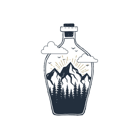 Hand drawn travel badge with mountains in a bottle textured vector illustration.