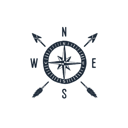 Hand drawn travel badge with compass rose textured vector illustration.