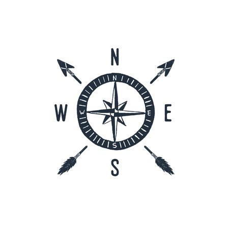 Ręcznie rysowane odznaka podróży z ilustracji wektorowych teksturowanej róża wiatrów.
