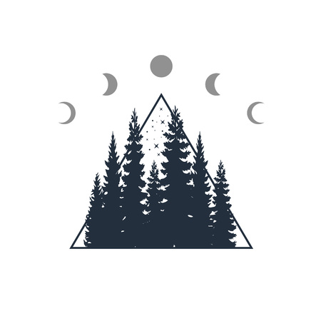 Hand drawn travel badge with fir trees textured vector illustration. 일러스트