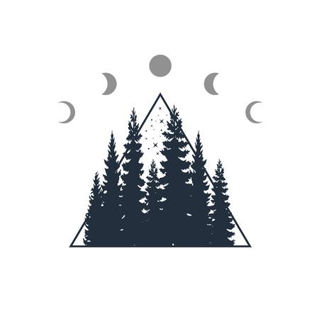 Hand drawn travel badge with fir trees textured vector illustration. Illusztráció