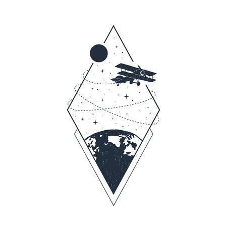 Hand drawn travel badge with biplane textured vector illustration.