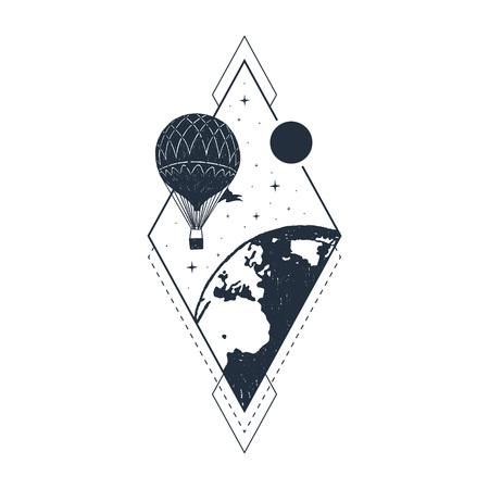 Hand drawn travel badge with hot air balloon textured vector illustration. 일러스트