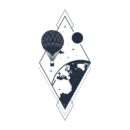 Hand drawn travel badge with hot air balloon textured vector illustration. Stock Illustratie