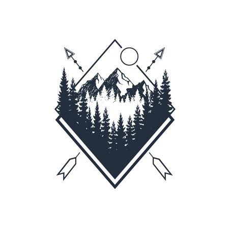 モミの木と山のテクスチャベクトルのイラストと手描きの旅行バッジ。