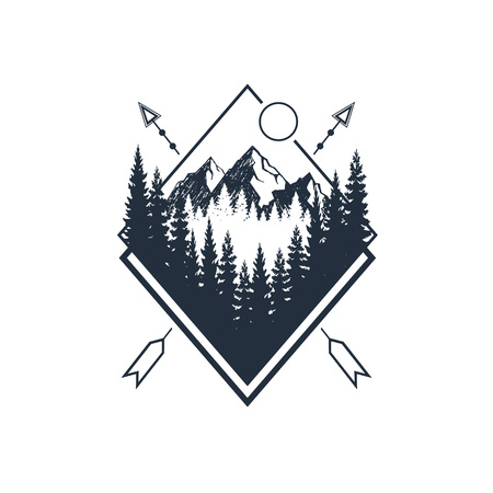 Hand drawn travel badge with fir trees and mountains textured vector illustrations.