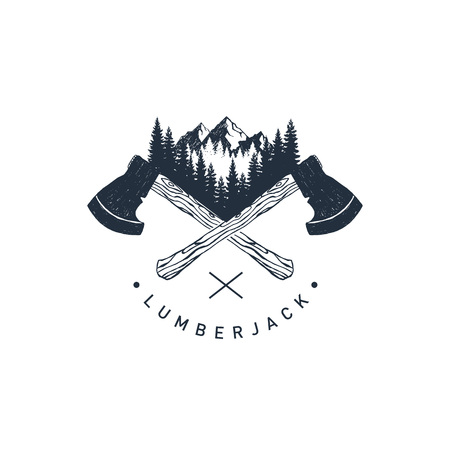 Hand drawn travel badge with crossed axes, mountains and fir trees textured vector illustrations and Lumberjack lettering.