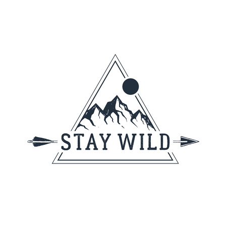 Hand drawn travel badge with mountain peaks textured vector illustration and Stay wild inspirational lettering. Illusztráció