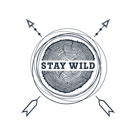 Hand drawn travel badge with tree trunk textured vector illustration and Stay wild inspirational lettering. Illusztráció