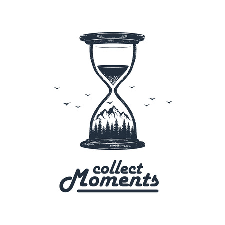Hand drawn travel badge with mountains and pine trees in an hourglass textured vector illustration and Collect moments inspirational lettering.