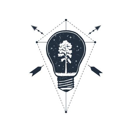 Hand drawn travel badge with pine in a bulb textured vector illustration. Illusztráció