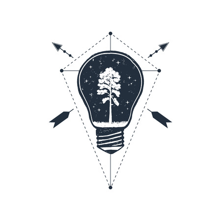 Hand drawn travel badge with pine in a bulb textured vector illustration. Illustration