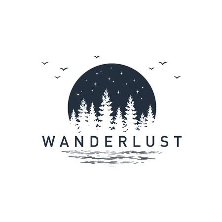 """Hand getrokken reizen badge met pijnbomen getextureerde vectorillustratie en """"Wanderlust"""" inspirerende belettering."""