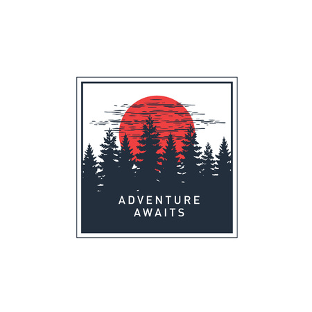 Hand drawn travel badge with pine trees at the sunset textured vector illustration and Adventure awaits inspirational lettering. Çizim
