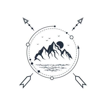 Hand drawn travel badge with mountains textured vector illustration.