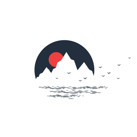 Hand drawn travel badge with sunset in the mountains textured vector illustration.
