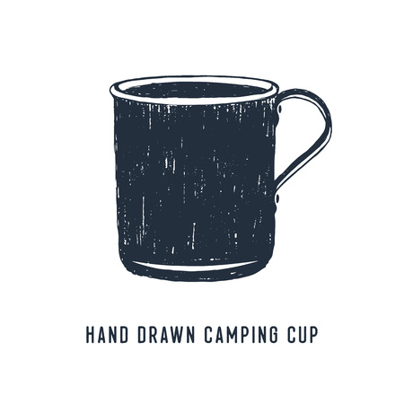 Hand drawn travel badge with metal mug textured vector illustration and Hand drawn camping cup lettering. Illusztráció