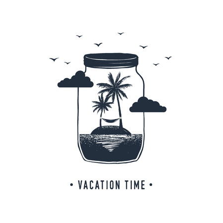 Hand drawn travel badge with palm trees in a jar textured vector illustration and