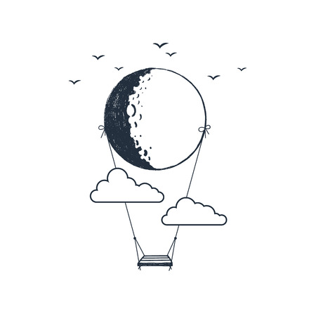 Hand drawn travel badge with swing hanging from the moon textured vector illustration. 일러스트