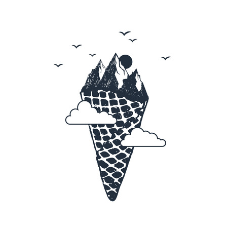 Hand drawn travel badge with mountains as an ice cream textured vector illustration.