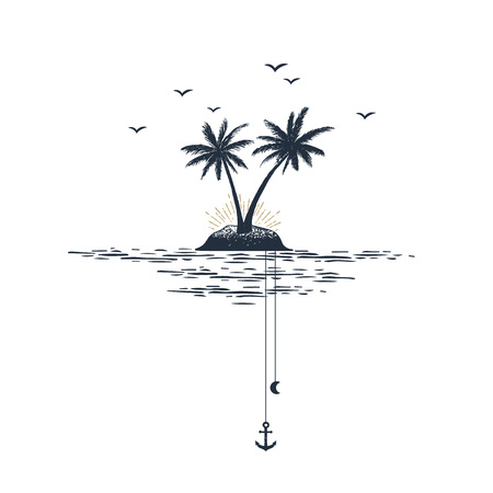 Hand drawn travel badge with palm trees textured vector illustration. Stock fotó - 96001869