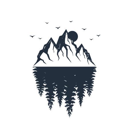 モミの木の森と山脈のテクスチャーベクターイラストと手描きの旅行バッジ。  イラスト・ベクター素材