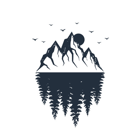 Hand drawn travel badge with fir tree forest and mountain range textured vector illustrations.