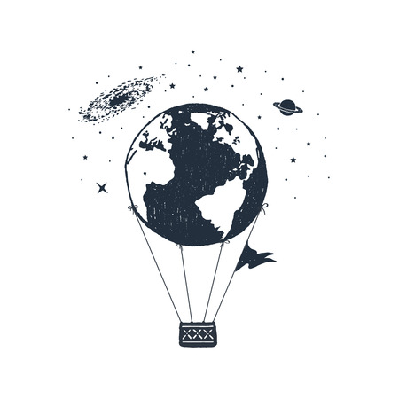 Hand drawn travel badge with Earth as a hot air balloon textured vector illustration.