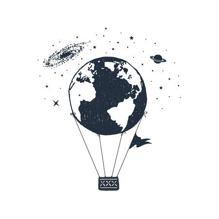 Insignia de viaje dibujado a mano con la tierra como una ilustración de vector de textura de globo de aire caliente.