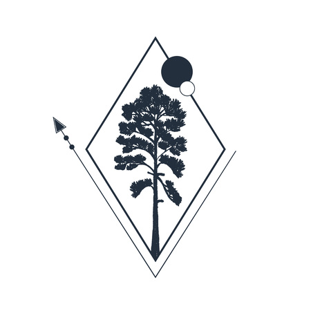 Hand drawn travel badge with pine textured vector illustration.
