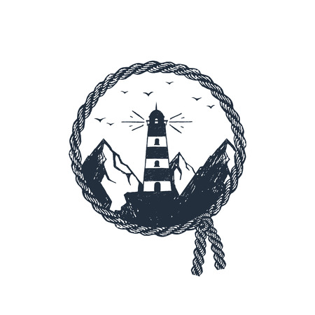 Hand drawn travel badge with lighthouse in the mountains textured vector illustration.