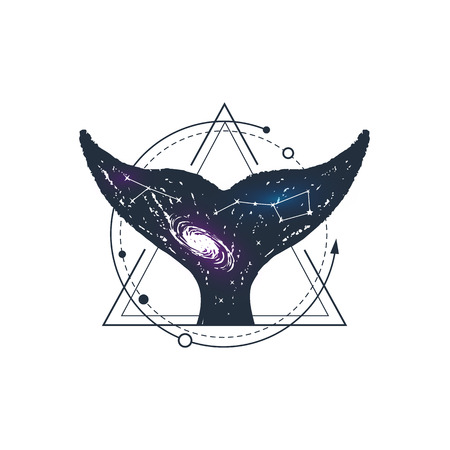 Hand drawn space badge with whales tail textured vector illustration.