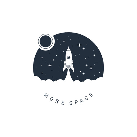 Hand drawn space badge with rocket textured vector illustration and More space lettering. Illusztráció