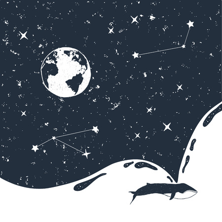 Hand drawn space badge with universe and a whale textured vector illustrations. 向量圖像