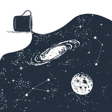 Hand drawn space badge with spilled universe textured vector illustration.