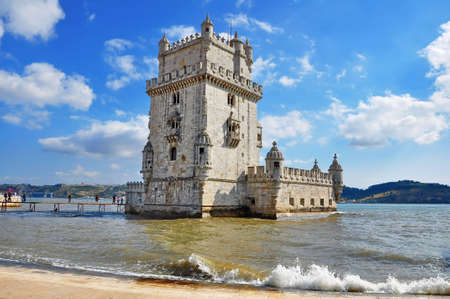 lisbon: view of Belem Tower, one the most famous landmark in the city of Lisbon (Portugal)
