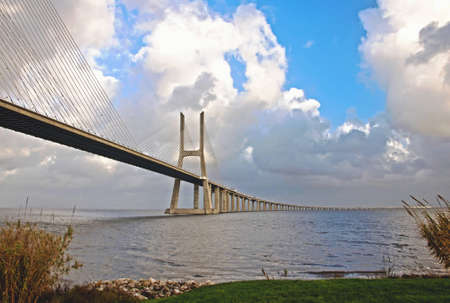 The new highway over the river Tagus in Lisbon, was commissioned in photo