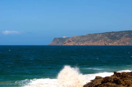 Portugal mountain landscape lighthouse nature ocean wave photo