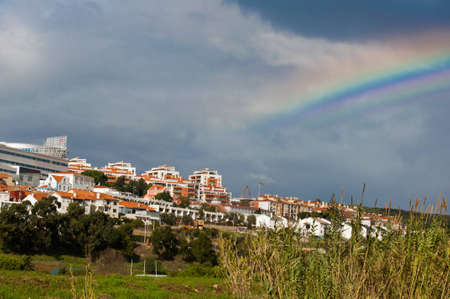 agriculture azores: village portugal tourism walls town landscape tower Stock Photo