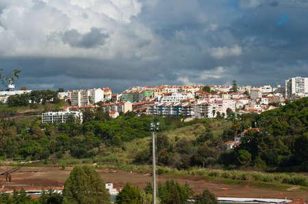 mediteranean: village portugal tourism walls town landscape tower Stock Photo
