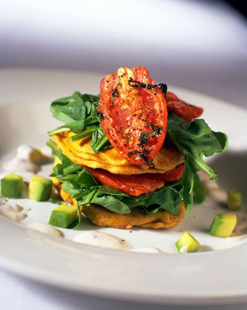 Vegetable stack entree in restaurant Stock Photo - 220377