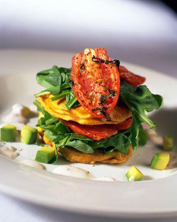 Vegetable stack entree in restaurant