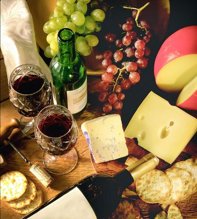 Still life of Wine and Cheese Stock Photo - 220951