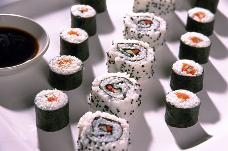 Sushi with Soy Sauce Stock Photo