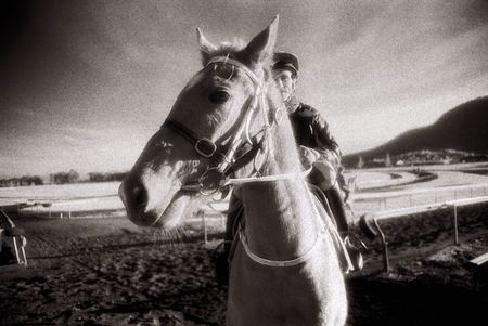 Black and White Infra Red image of thoroughbred Racehorse and Jockey(intentional grain) Stock Photo