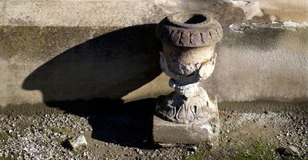 grave site: Sandstone urn, part of grave site