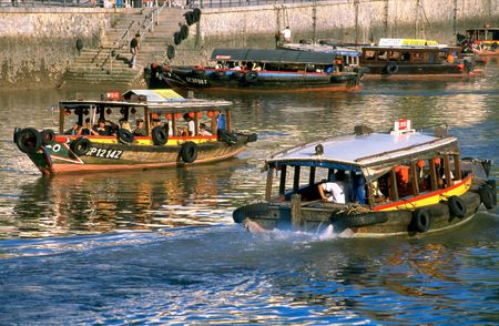 River Taxis, know as Bum Boats on the Singapore River, Singapore