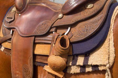 western saddle: Close up detail of Western Horse Saddle